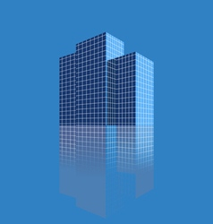 Three skyscrapers on a blue background vector