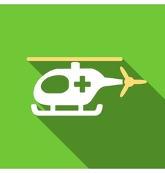 Emergency helicopter flat long shadow square icon vector