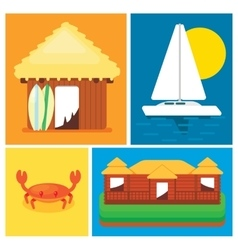 Elements of the concept leisure on island vector