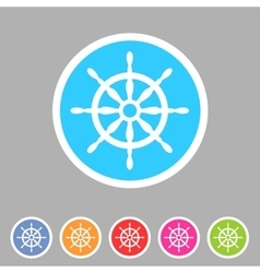 Yacht wheel helm sea icon web sign symbol logo vector