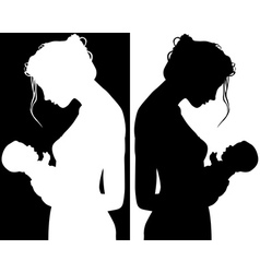 Silhouettes of Mother and Child vector image