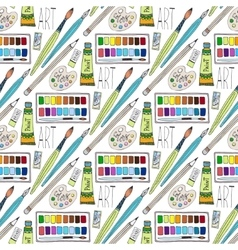 Cartoon doodles hand drawn art supplies vector