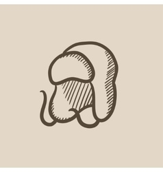 Warm fur cap sketch icon vector