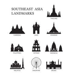 Asean southeast asia landmark silhouette set vector