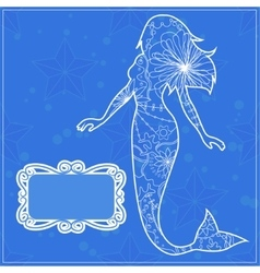 Background with the mermaid vector image vector image