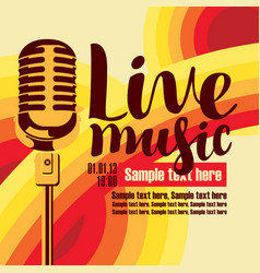 banner for concert live music with microphone vector image vector image