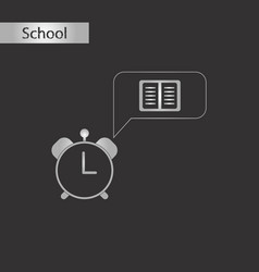 black and white style icon of book alarm clock vector image vector image