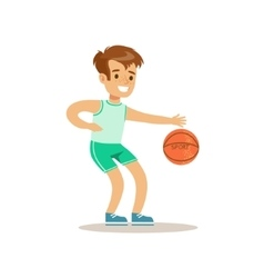 Boy playing basketballkid practicing different vector