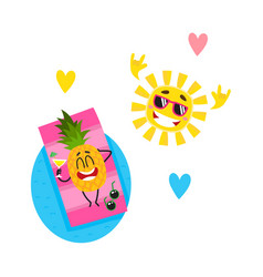 Cartoon summer fruit characters icon set vector