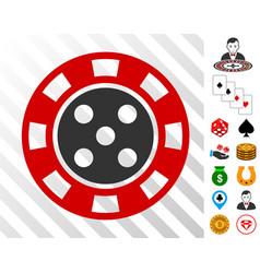 Casino chip icon with bonus vector