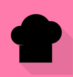 chef cap sign black icon with flat style shadow vector image