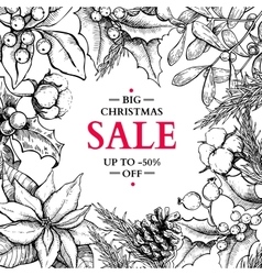 Christmas sale banner in frame hand drawn vector image vector image
