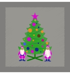 flat shading style icon Christmas Tree Santa Claus vector image