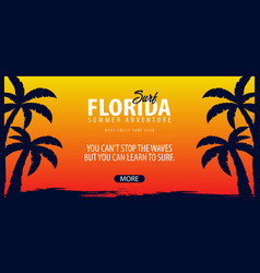 Florida surfing graphic with palms surf club vector