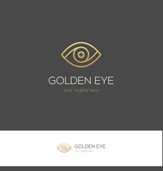 golden linear eye logo vector image