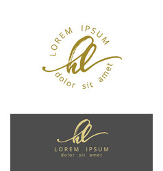 H l handdrawn brush monogram calligraphy logo vector
