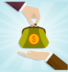 Hand giving a purse with money vector