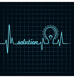 Heartbeat make solution word and light-bulb vector