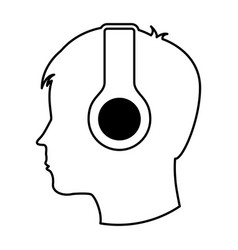 Human profile with earphones vector