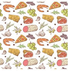 italian food seamless pattern hand drawn vector image vector image