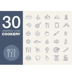Kitchen seamless pattern 30 icon set vector image