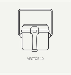 Line flat hunt and camping icon - kettle vector