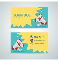 megaphone business card template vector image vector image