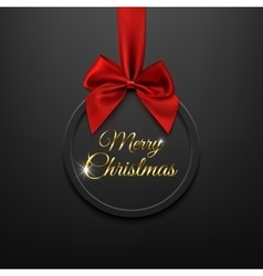 Merry christmas round banner with red ribbon and vector