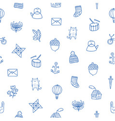 Outline kids doodle pattern vector