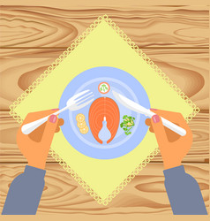Person is eating boiled salmon vector