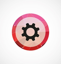 Settings circle pink triangle background icon vector