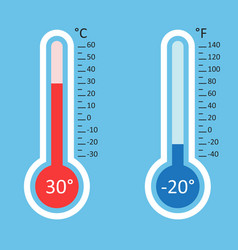 thermometers icon goal flat isolated on blue vector image vector image