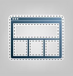 Web window sign blue icon with outline vector