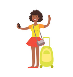 Woman standing with travel suitcase colorful vector