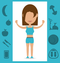 Woman with healthy listyle to diet plan vector