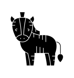 zebra cute icon black sign vector image