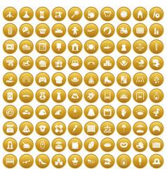 100 motherhood icons set gold vector