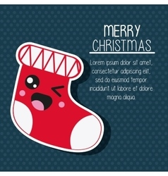 Kawaii boot merry christmas design vector