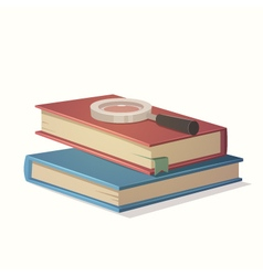 Books and magnifying glass vector