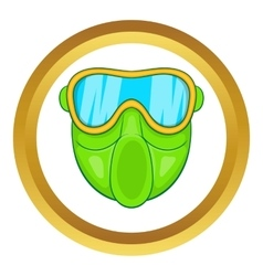 Green paintball mask icon vector