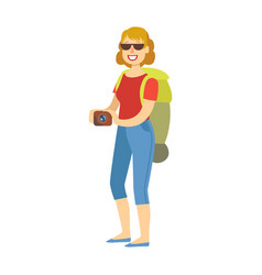 Cheerful woman standing with traveling backpack vector