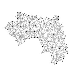 Map of guinea from polygonal black lines and dots vector
