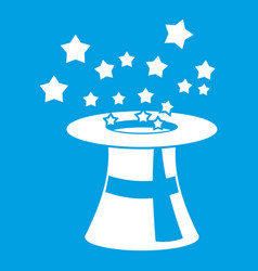 Magic hat with stars icon white vector