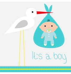 Baby shower card with stork Its a boy vector image