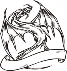 dragon template vector image