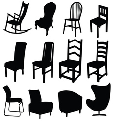 Chair art in black color two vector