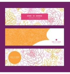 Flowers outlined horizontal banners set vector