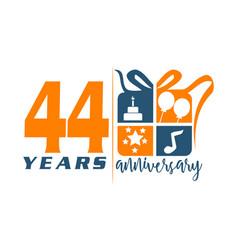 44 year gift box ribbon anniversa vector