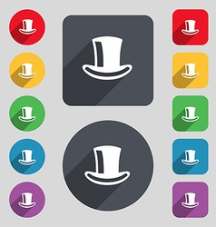 Cylinder hat icon sign a set of 12 colored buttons vector