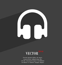 Headphones earphones icon symbol flat modern web vector